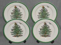 Set (4) Spode CHRISTMAS TREE PATTERN Green Trim DESSERT or B&B PLATES