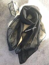 Ladies Women Unisex Fashion  Embroidery Style Skull Scarf Shawl Wrap New Black
