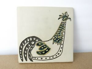 Bennington Vermont Pottery Rooster Wall Tile Trivet #1534  (ie@b8)