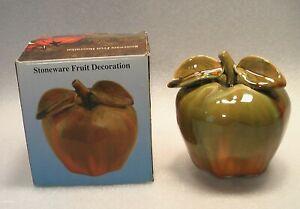 GREEN APPLE FIGURINE HANDMADE CERAMIC OLD STONEWARE FRUIT TABLE ORNAMENT IN BOX
