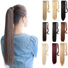 """OneDor 24"""" Straight Wrap Around Synthetic Hair Ponytail Extension for Women"""