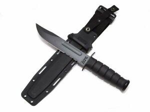 KA-BAR Fighting/Utility Knife, Black, Black Hard Sheath, Serrated Edge #1214