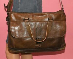 FRYE Olive Brown Leather OLIVER Shoulder UNISEX Briefcase Laptop Satchel Bag