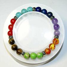 ZILA  AMBER, BROWN 7 Chakra Gemstone Bracelet Crystal Reiki Healing Yoga
