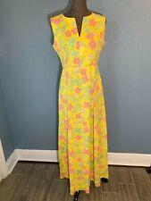 Women's vintage summer dress yellow pink floral handmade sz M see measurements