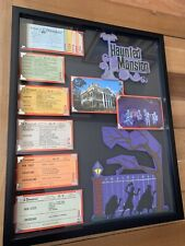 Vintage Disneyland Ticket Book Framed Haunted Mansion Original Postcard Disney