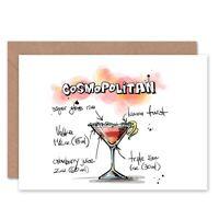 Cosmopolitan Cocktail Drink Blank Greeting Card With Envelope