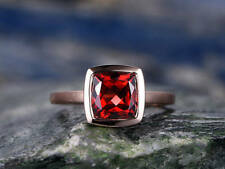 7.00mm Cushion Cut Red Ruby Solitaire Engagement Ring 14K Rose Gold Over