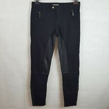 Burberry Brit Clipstone Womens Skinny Jeans Black W28 Denim Leather Trimming