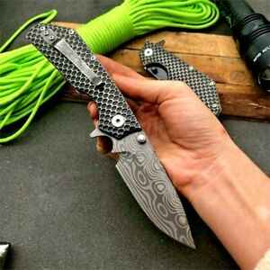 Drop Point Folding Knife Pocket Flipper Hunting Wild Survival Tactical Military