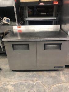 True TWT-48 Double Door Stainless Refrigerator Prep Counter Cooler Restaurant