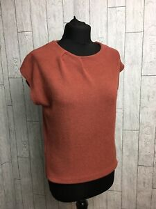 Laura Ashley Copper Orange Cap Sleeve Top Size UK 8 Viscose Dart Neckline Detail
