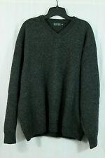 Blarney Woollen Mills Mens XXL 100% Lambs Wool Sweater V-Neck Pullover Knit Gray