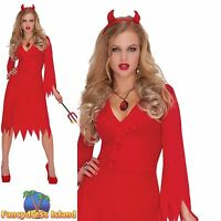 RED HOT DEVIL SEXY DRESS HALLOWEEN UK 10-20 Womens Ladies Fancy Dress Costume