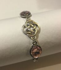 BRACELET DARK SILVER PLATED ROUND CELTIC KNOTS FACETED PINK GLASS CRYSTAL OVAL