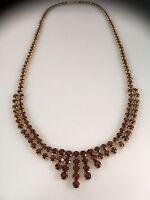 "Gorgeous Vintage Genuine Pyrope Garnet (25ctw) ""Cleopatra"" Necklace, 19"" New"