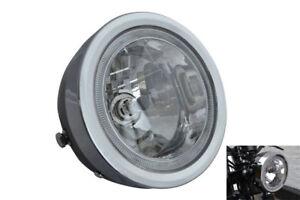 """Motorbike Headlight & LED Halo Ring BLACK Project Retro 6.5"""" 12V 35W - BLEMISHED"""