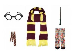 Harry Potter Style Wand World Book Day Fancy Dress up Glasses-Scarf-Socks & Tie
