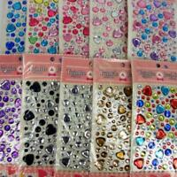 100+ Self Adhesive Stick on Diamante Hearts Crystal Mixed Rhinestone Diamante