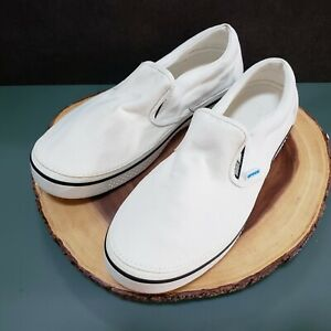 Crocs Mens Canvas Slip On Shoes White Size 13 Lightweight Casual