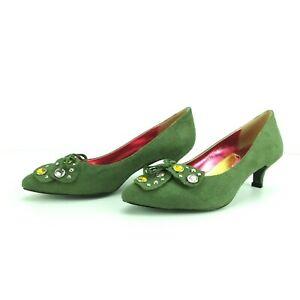 I.Accessories+Pourtous Green 45 mm heal Suede Feel 35 36 37 38  Dress Shoe