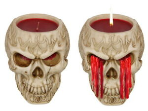 New 1pce 18cm Skull Candle Weeping Blood Bleeds Red Wax when Burning Halloween