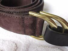 NEW Ralph Lauren Double O Ring Belt Mens  MEDIUM Brown Suede