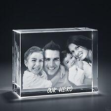 Laser Engraved 3D Crystal Personalized Gift X-Large Brick Shape + Base