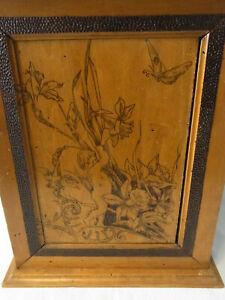 Antique German Art Nouveau Carved Wood Wall Cabinet Poker Work #<
