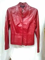 """Women's Red Leather Snap Front Lined Jacket Size S/34"""" Chest"""