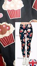 Soft Matte Fabric Dark Blue Cupcake  Leggings Trousers  One Size (UK 8-12)