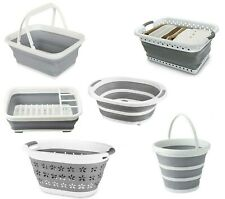 Collapsible Silicone Folding Bucket Basket Dish Drainer Rack Plastic Storage NEW