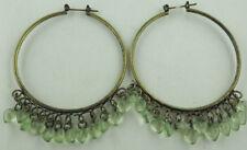 Antiqued Dangling Peridot Ice Hearts Plastic Bead Hoop Large Earrings