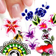 Nail Art Decal Water Slide Transfer Color Flower Style Stickers 11 in 1 W37 Lot