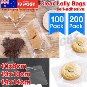 Plain Clear Lolly Bags self-adhesive cello lollies candy treats bulk cellophane