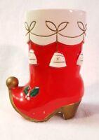 "Napco Christmas Salt and Pepper Shaker Single Red Boot Elf Shoe Large Ceramic 5"""