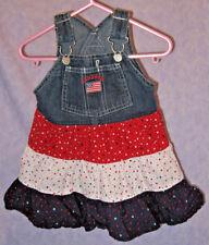 OshKosh B'Gosh Bib Overall Toddler's Jumper Dress Patriotic Stars 3 Tiers 12 Mos