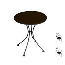 Set di tavolo e sedie da esterno in ferro nero con braccioli (tavolo + 2 sedie)