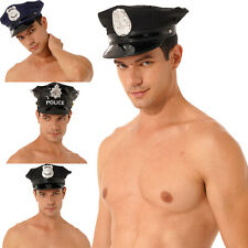 Men Police Captain Cosplay Hat Faux Leather Role-Play Outfit Costume Accessories