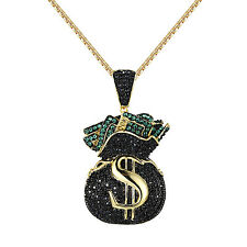 Iced Out Cash Money Bag Pendant Black Simulated Diamonds Gold Tone Free Necklace
