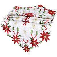 Embroiderd Christmas Poinsettia Table Runner Home Tablecloth Wedding Party Decor