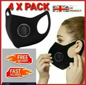 4X Breathable Face Mask Washable Black Reusable Filter Valve Mouth Protection 3D