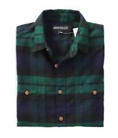 J.Crew Mercantile Mens L Slim Fit - Navy/Green Black Watch Plaid Flannel Shirt
