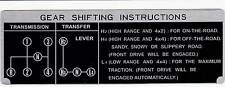 Shift Plate Toyota Land Cruiser FJ40 FJ45 BJ40 H42 4 Speed Instruction