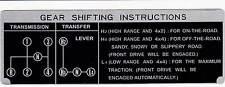 Shift Plate Toyota Land Cruiser FJ40 FJ45 BJ40 H42 4 Speed Instruction