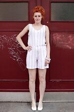 Damen Overall Jumpsuit lila weiß white 80er True VINTAGE Normcore 80s Streifen