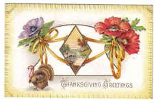 Thanksgiving Greetings Flowers Turkey Bridge Embossed