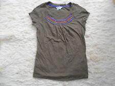 Boden Brown Short Sleeve 100% Cotton Embellised T-Shirt Top - UK6