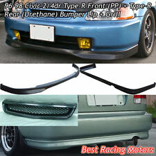 TR Style Front + TR Style Rear Bumper Lip (PU) + Grill (ABS) Fit 96-98 Civic 2dr