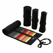 Pencil Case Black Color Roll Holes Canvas Pen Bag For Girls Boy Stationery Pouch